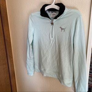 Pastel blue with black fur sweatshirt